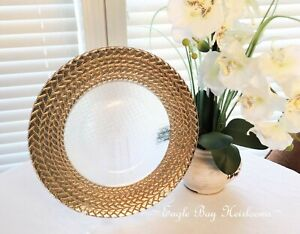 "Glass Charger, Gold & Silver Braided Rim, 13"" Wide, Wedding Decor, Tablescape"