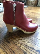 SWEDISH HASBEENS EMY LEATHER CLOGS ANKLE BOOTS RED US7.5 38