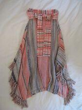 Anthropologie Striped Fringe Dress Sweater Skirt 4 6 8 S M EUC