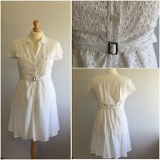 TU Ladies White Cotton Broderie Anglaise Fit Flare 50s Retro Shirt Dress UK 18