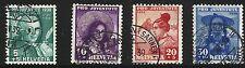 Switzerland Scott #B91-94, Singles 1938 Complete Set FVF Used