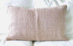 NEW Pottery Barn Faye Textured Linen Lumbar Pillow Cover Mauve Pink 16 x 26 NWT