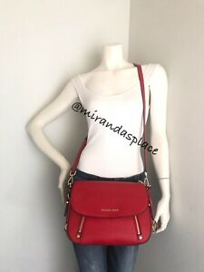 NEW MICHAEL Kors Bedford Legacy Red Leather Flap Crossbody Bag