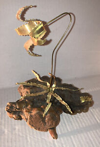 Mid Century brutalist Metal Orchid Sculpture signed Mario