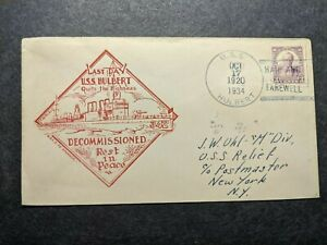 USS HULBERT DD-342 Naval Cover 1934 RICHELL DECOMMISSIONED Cachet to USS RELIEF