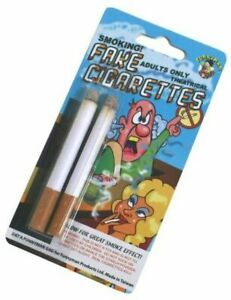 2 Fake Puff Stage Cigarettes Fags Smoking Prop Funny Joke Cigarette Trick Toy