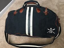 Rugby Ralph Lauren Duffle Bag Varsity Polo Black Canvas Brown Leather RRL