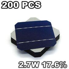 200 Pcs Grade A Mono Solar Cells 5 x 5 125MM 2.7W 17.6% For DIY Solar Panel