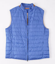 NWT $1195 LUCIANO BARBERA Lightweight Quilted Down Vest w/ Suede Trim M Sky Blue