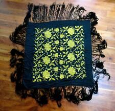 """RARE VINTAGE 1920'S BLACK SILK PIANO SHAWL WITH SILK GOLD FLORAL EMBROIDERY 47"""""""
