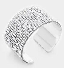 Clear White Silver Wide Cuff Crystal Rhinestone Wedding Pageant Formal Bracelet