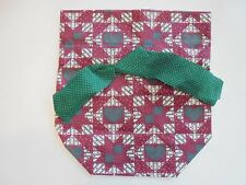 Fabric Tissue Box Cover for Square Tissue Box Kleenex Cover Deep Red Green