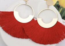 Gold Red Luxury Long Drop Tassel Fashion Earring Boho Festival Party Boutique Uk