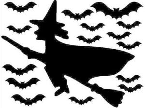 14 bats and 1 witch Halloween Stickers, lots of colours, decoration, party, fun