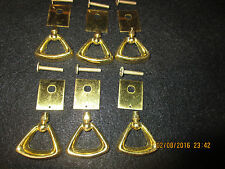 set of 6 vintage brass drawer pulls with screws salvaged from an old dresser
