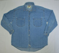 Levi's Blue Denim Jean Long Sleeve Button Down Casual Shirt Mens L Red Tab