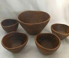 Mid Century Wooden Salad Bowls 5 Straight Side Bowls Clean Modern Lines Natural Tabletop Monkey Pod Golden Wood Salad Bowls