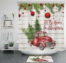 Christmas Tree Red Truck Rustic Wood Plank Waterproof Fabric Shower Curtain Set