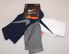 New Nike 3 Pack Dri-FIT Cotton Cushioned Crew Socks SX4950 955 Men's Size 8-12