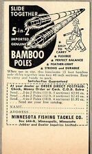 1952 Print Ad Minnesota Fishing Tackle Bamboo Rods Slide Together Minneapolis