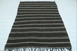 "Anatolia Oushak Kilim, Modern Rug, Black Wool Rug Stripe Rug 59""x74"" Area Carpet"