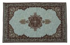 Persian Medallion Spa Blue Door Mat Slip Skid Resistant Rubber Backing 2' x 3'