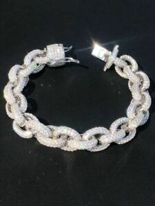 Mens Thick Hip Hop Rapper Rolo Bracelet Solid 925 Silver Diamonds ICY Fully Iced