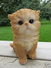 Persian Kitten Figurine Sitting  Cat 5.75 in. Animal Farm Resin Pet Kitten New