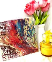 ORIGINAL ACRYLIC ABSTRACT POUR PAINTING 20X20'' HANDPAINTED WALL MODERN ABSTRACT