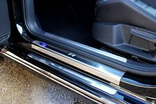 VW Golf Mk7 2013> 'R' Stainless Steel Kick Plate Car Door Sill Protectors - 8pce