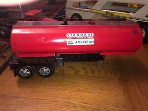 """vintage pressed steel Ertl gasoline tanker body 16"""" modified good bones AS IS"""