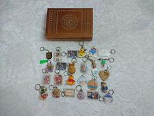 Large Collection of Vintage 25 Keychains Keyrings + Wooden Polish Trinket Box