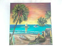 Original Acrylic Painting Tropical Surf Shack 12X12 Stretched Canvas Boat  Art
