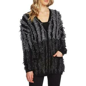Vince Camuto Womens Knit Colorblock Fringe Cardigan Sweater Top BHFO 5869