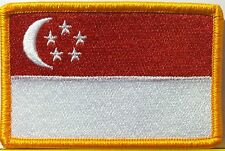 SINGAPORE Flag Patch With VELCRO® Brand Fastener Gold Emblem #45