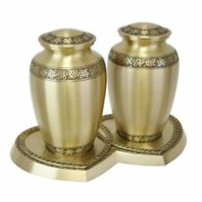 Extra-Large 456 Cubic Inch Brass Maple Leaf Companion Cremation Urns for Ashes