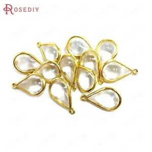 (38310)10PCS 24K Champagne Gold Color Brass and Glass Drop Shape Charms Pendants
