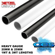 UNIVOLT PVC ROUND CONDUIT HEAVY GAUGE 20MM & 25MM 1 MT/3MT LENGTHS BLACK & WHITE