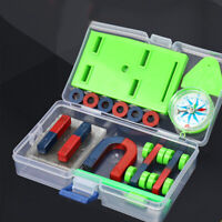 DIY Bar Ring Horseshoe Compass Magnets Set Science Experiment Tool Kids Toys