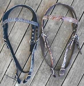 NYLON BRIDLE HEADS with SNAKE or ALLIGATOR PRINT OVERLAY Brand New