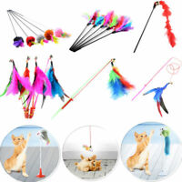 Pet Kitten Cat Play Teaser Turkey Feather Interactive Toy Wire Chaser Wand Bell