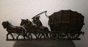 schweres Wandbild aus Gusseisen? Bauer Kutscher Pferde Wagen