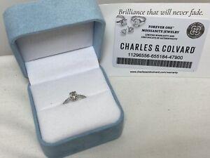 Charles & Colvard 10K White Gold Moissanite Engagement Ring .75 TCW Size 7.25