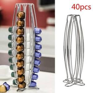 Nespresso Capsule Holder 40 Pod Rotating Coffee Pod Stand Chrome Kitchen top