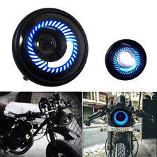 Motorcycle Modify Round Blue Angel Eye LED Headlight High/Low Beam Retro Design