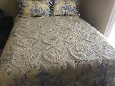 Hand Made Cream Color Crochet Knitted Afghan Blanket Throw 56x61