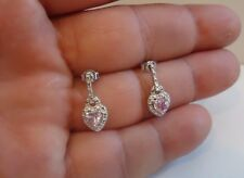 925 STERLING SILVER LADIES HEART SHAPE DANGLING EARRINGS W/1 CT PINK/WHT DIAMOND