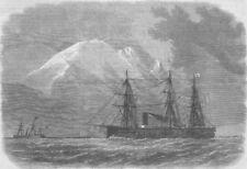 CHILE. Magellan Strait. HMS Zealous , antique print, 1867