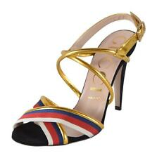 NEW Gucci 475095 Black Gold Web Stripe SYLVIE Strappy Sandals Shoes 37 7