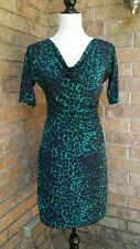 BCBG MAXAZRIA dress Small animal pattern Cowl neck green black blue Worn once